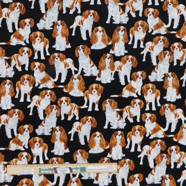 Quilting Patchwork Sewing Fabric King Charles Dog Print Material 50x55cm FQ