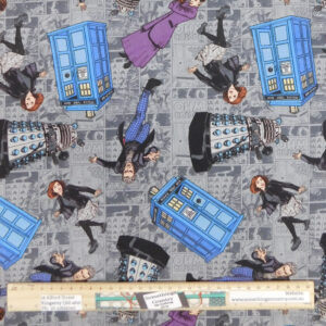 Quilting Patchwork Sewing Fabric Doctor Who Tardis 50x55cm FQ