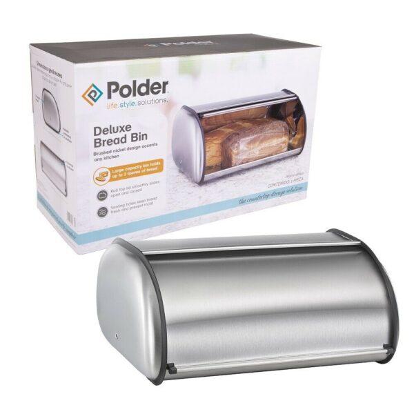 Polder Retro Kitchen Brushed Nickel Deluxe Bread Bin Roll Top Lid