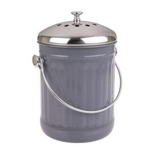Enamel Retro Kitchen Scraps Compost Bucket with Filter Charcoal Grey