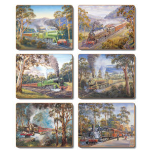 Country Kitchen TRAINS Cinnamon Cork Backed Coasters Set 6