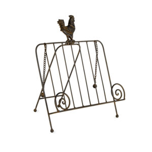 French Country Kitchen Wrought Iron Rooster Recipe Book Holder