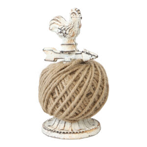 French Country Wrought Iron Metal Rooster Twine String Holder