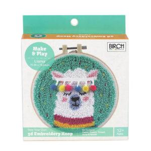 Birch Punch Needle Kit Kids Beginner Llama Inc Threads 15.24cm