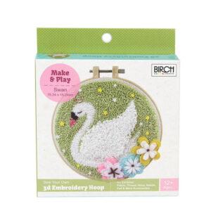 Birch Punch Needle Kit Kids Beginner Swan Inc Threads 15.24cm