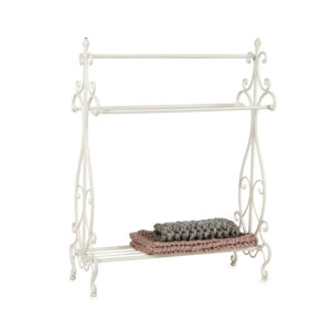 French Country Off White Towel Rack Standing Wrought Iron with Shelf