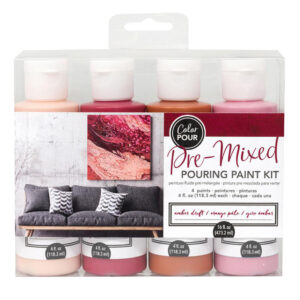 Premixed Pouring Paint Kit Set of 4 Colours Amber Drift DIY Canvas