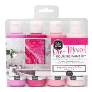 Premixed Pouring Paint Kit Set of 4 Colours Berry Rush DIY Canvas