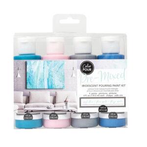 Premixed Pouring Paint Kit Set of 4 Colours Opal Flux DIY Canvas