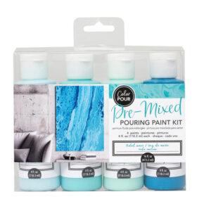 Premixed Pouring Paint Kit Set of 4 Colours Tidal Wave DIY Canvas