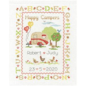 DMC Cross Stitch Kit Happy Camper Sampler Counted X Stitch