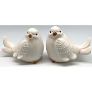 French Country Ornamental Set of 2 CREAM BIRDS Collectable Gift Idea