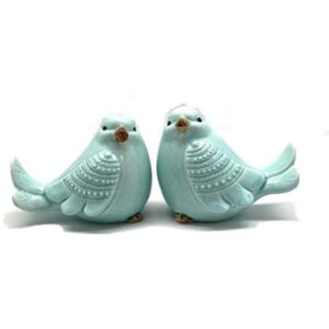 French Country Ornamental Set of 2 BLUE BIRDS Collectable Gift Idea