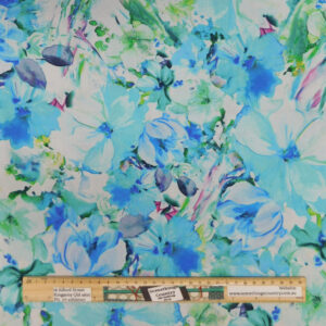 Quilting Patchwork Fabric Sewing Blue Floral Wide Backing 270x50cm