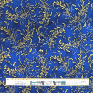 Quilting Patchwork Sewing Fabric Royal Blue Gold Metallic 50x55cm FQ