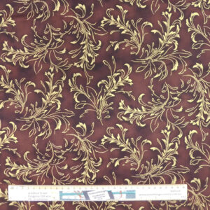 Quilting Patchwork Sewing Fabric Chocolate Gold Metallic 50x55cm FQ