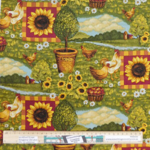 Quilting Patchwork Sewing Fabric Sunflower Rooster 50x55cm FQ