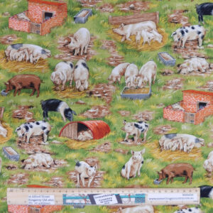 Quilting Patchwork Sewing Fabric Country Life Pigs 50x55cm FQ