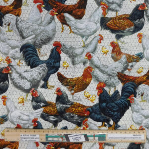 Quilting Patchwork Sewing Fabric Moda Cooped Up Chickens 50x55cm FQ
