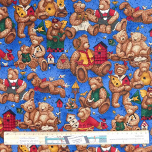 Quilting Patchwork Sewing Fabric Teddy Bears Blue 50x55cm FQ
