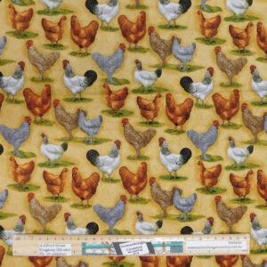 Quilting Patchwork Sewing Fabric Farm Fresh Chickens 50x55cm FQ