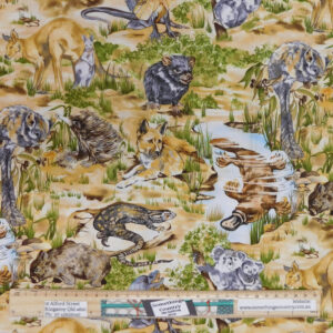 Quilting Patchwork Sewing Fabric Australian Native Animals 50x55cm FQ