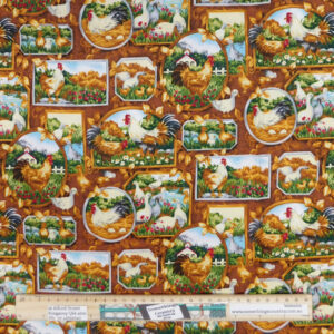 Quilting Patchwork Sewing Fabric Countryside Chickens 50x55cm FQ