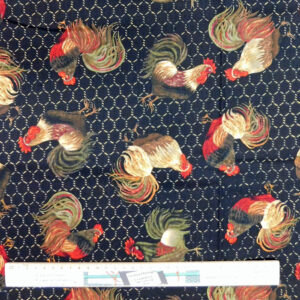 Quilting Patchwork Sewing Fabric Black Chicken Wire Rooster 50x55cm FQ