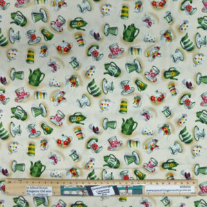 Quilting Patchwork Sewing Fabric Kitchen Tea Green 50x55cm FQ