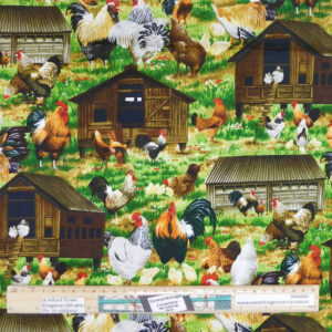 Quilting Patchwork Sewing Fabric Here Chick Chicken 50x55cm FQ