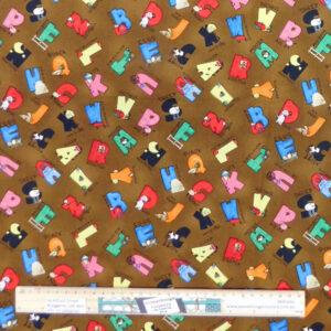 Quilting Patchwork Sewing Fabric Farmyard Alphabet 50x55cm FQ