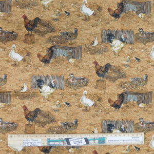 Quilting Patchwork Sewing Fabric Brown Chickens 50x55cm FQ Material
