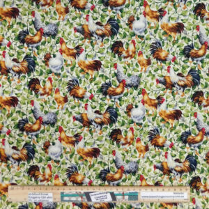 Quilting Patchwork Sewing Fabric Leafy Chicken 50x55cm FQ Material