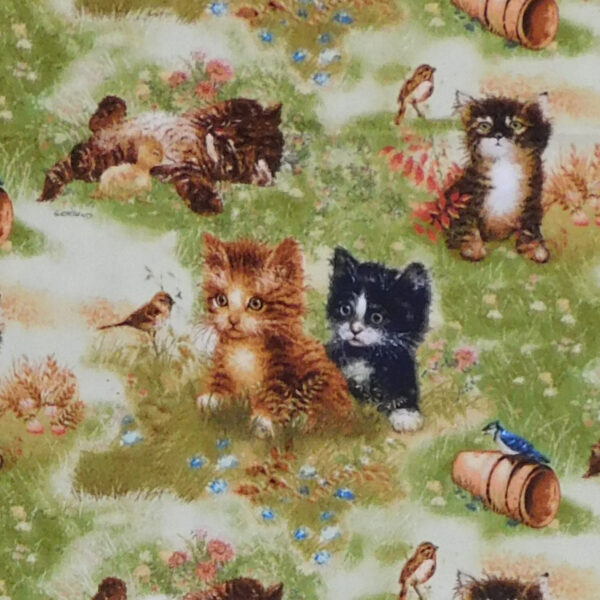 Quilting Patchwork Sewing Fabric Kittens in Garden 50x55cm FQ
