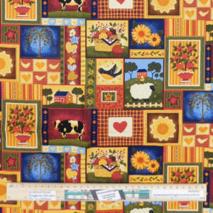 Quilting Patchwork Sewing Fabric Primitive Farmyards 50x55cm FQ