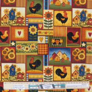 Quilting Patchwork Sewing Fabric Primitive Chickens 50x55cm FQ