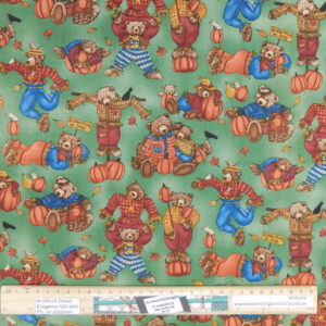 Quilting Patchwork Sewing Fabric Teddy Bears Green 50x55cm FQ