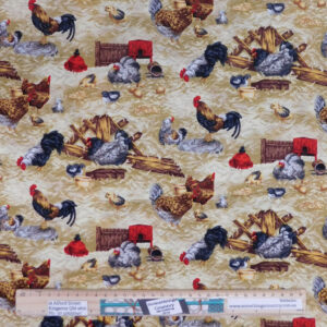 Quilting Patchwork Sewing Fabric Farm Living Chickens 50x55cm FQ
