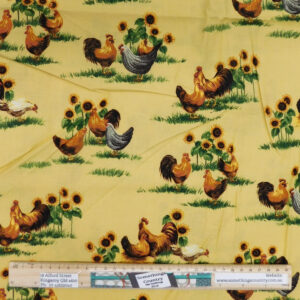 Quilting Patchwork Sewing Fabric Golden Rooster 50x55cm FQ Material
