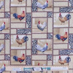 Quilting Patchwork Sewing Fabric Rooster in Grid 50x55cm FQ