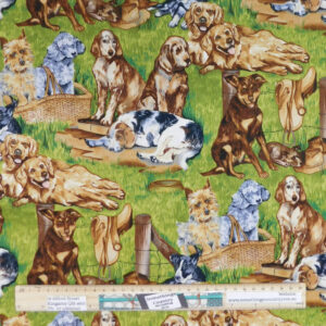 Quilting Patchwork Sewing Fabric Lots of Dogs 50x55cm FQ Material