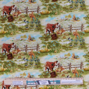 Quilting Patchwork Sewing Fabric Farmyard Babies 50x55cm FQ Material