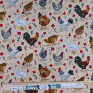 Quilting Patchwork Sewing Fabric Buttercup Farm Chickens 50x55cm FQ