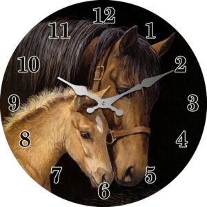 French Country Chic Wall Clock 30cm BROWN HORSES Glass