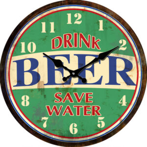 French Country Chic Wall Clock 30cm DRINK BEER SAVE WATER Glass