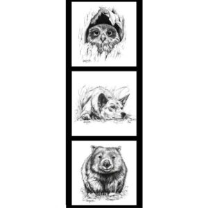 Patchwork Quilting Owl Dingo Wombat Line Drawing Panel 40x110cm Fabric