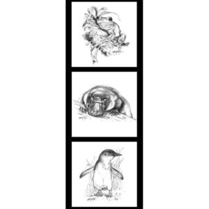 Patchwork Quilting Frogs Penguin Platypus Line Drawing Panel 40x110cm Fabric