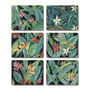 Country Kitchen TROPICAL MIDNIGHT Cinnamon Cork Backed Coasters Set 6