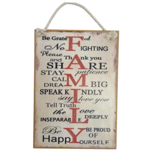 Country Printed Quality Wooden Sign Red Family Plaque