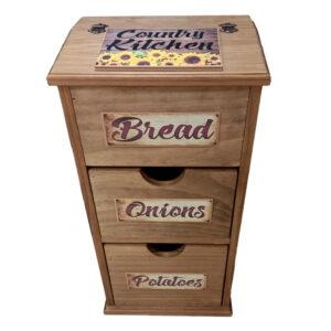 Handmade Timber Wooden Kitchen Bread Potato Onion Bin Country Kitchen